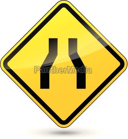 vector narrowed road diamond sign