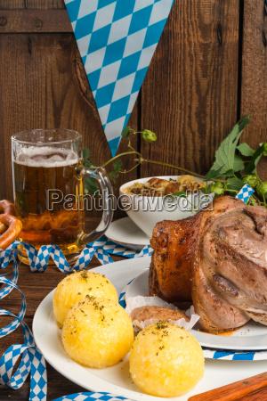 schweinshaxe pork knuckle on bavarian
