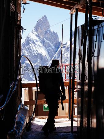 mountaineer in a alpine hut