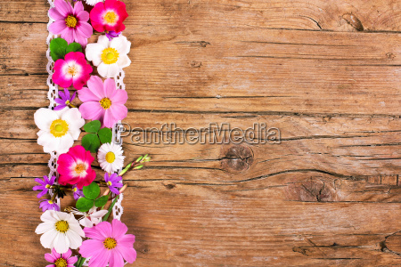 flowers on wood space for text