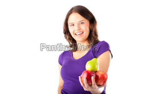 gesunde ernaehrung frau mit AEpfeln