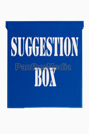 blauer holz kasten suggestion box
