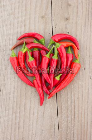 pepper red spice heart haert shape