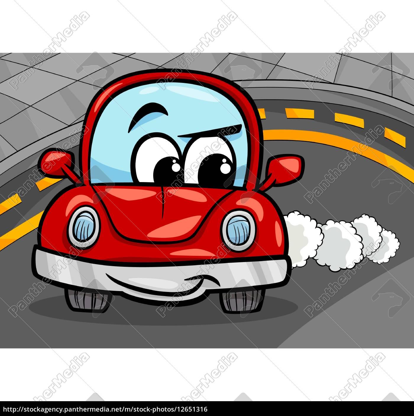Lizenzfreie Vektorgrafik 12651316 Lustige Retro Auto Cartoon Illustration