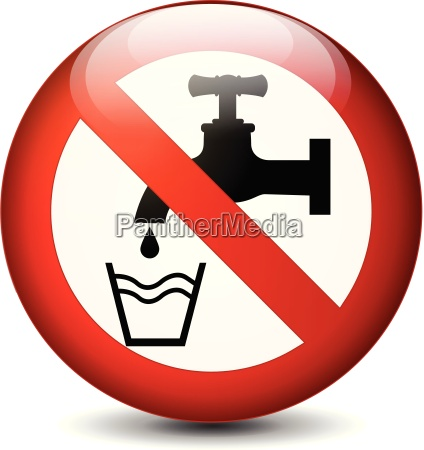 no drink water round sign