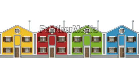 casas de colores en blanco