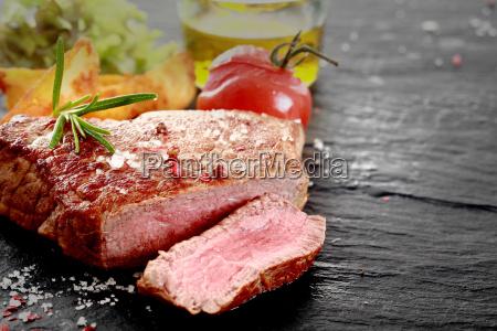 grilled rare rump steak