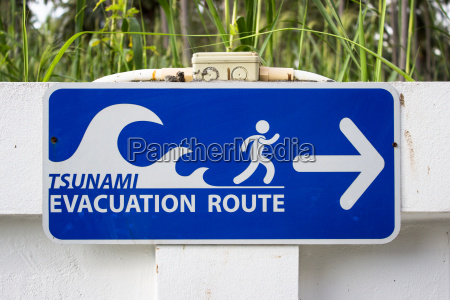 sign tsunami escape route evacuation route