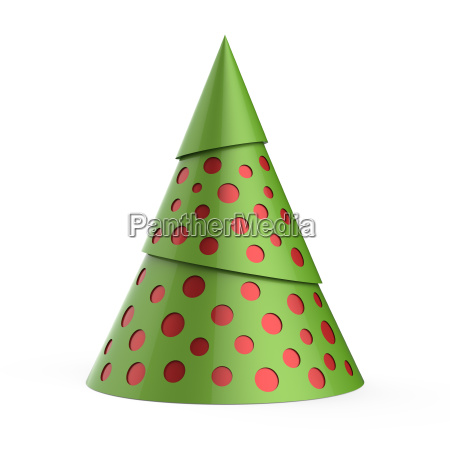 green stylized christmas tree with red