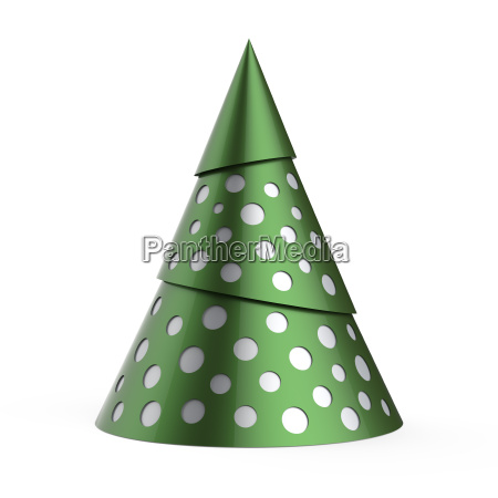green stylized christmas tree with silver