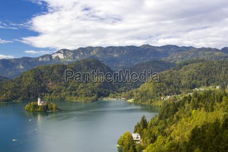 panoramablick von bled see slowenien europa