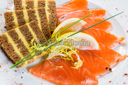 salmon snack on the white plate