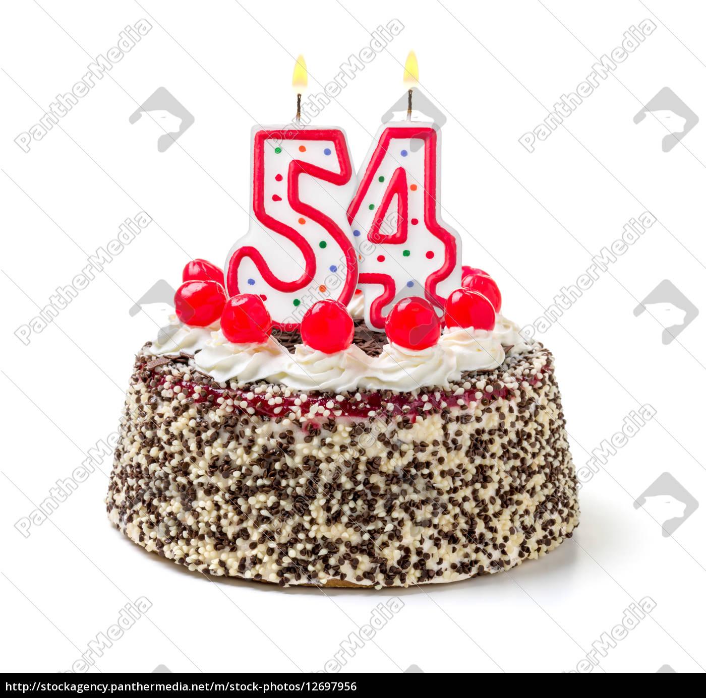 Geburtstagstorte mit brennender Kerze Nummer 20   Lizenzfreies ...