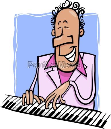 jazz pianist cartoon abbildung