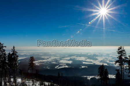 czech mountains in winter view