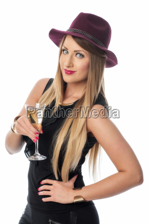 woman with hat drinking champagne