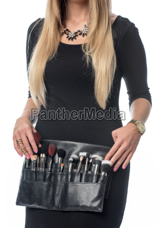 cosmetic bag with many powder brushes