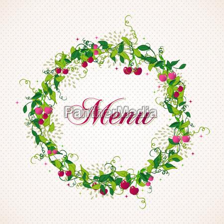 vintage cherry plant wreath menu background