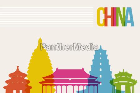 reisen sie china destinationwahrzeichen skyline hintergrund