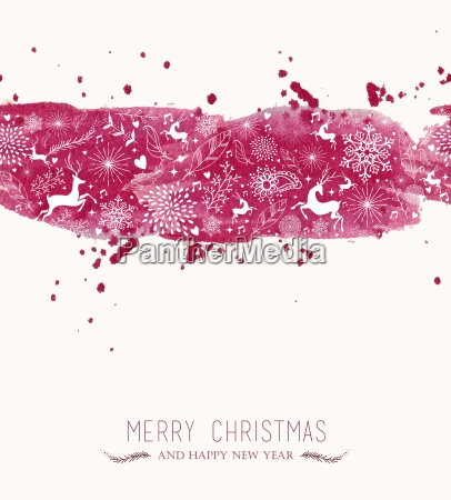 watercolor christmas banner seamless pattern