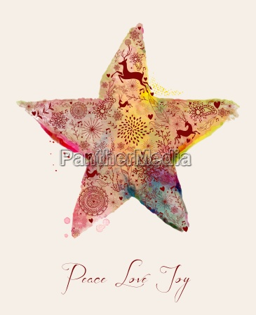 christmas star watercolor greeting card