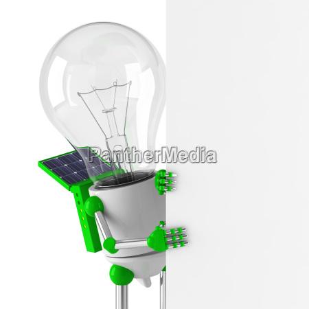 solarbetriebene gluehbirne roboter blank billboard