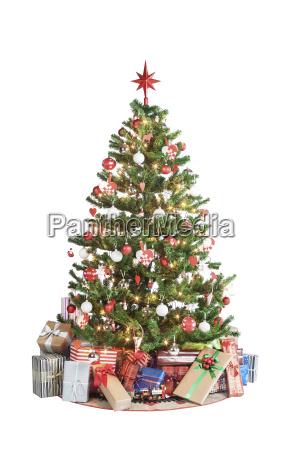 weihnachtsbaum, mit, präsenten - 12757144