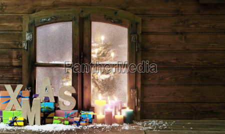 weihnachtsartikel im vintage holz fensterscheibe