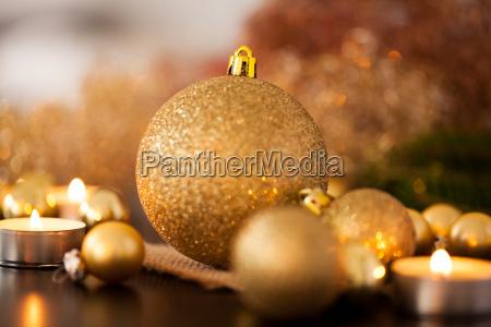 warm golden and orange christmas decoration