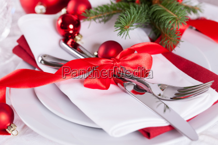 romantic christmas table with red balls