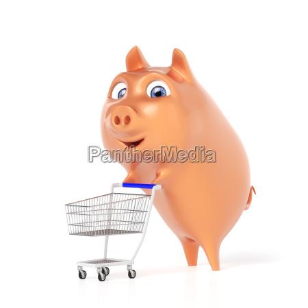 sparschwein beim einkaufen