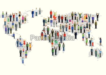 gruppe, von, menschen, , die, eine, weltkarte - 12765036