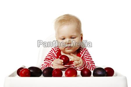 baby auswahl pflaumen die fokussierung gesicht