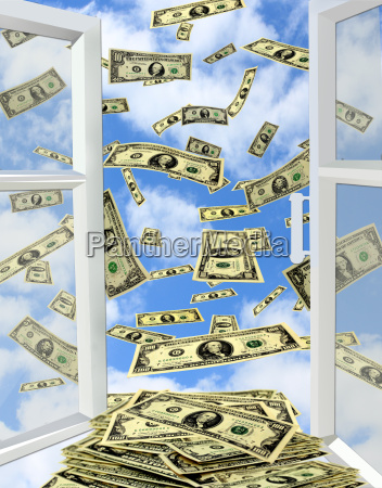 dollar fliegen aus geoeffneten fenster zum