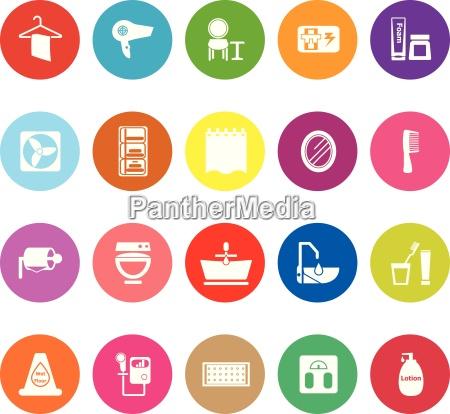 badezimmer flache ikonen auf weissem hintergrund