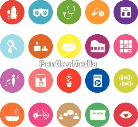 wellness flache ikonen auf weissem hintergrund
