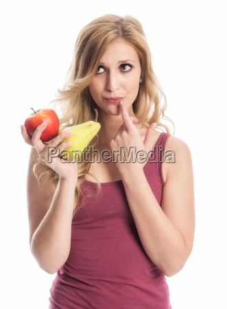 pensive woman with apple and pear