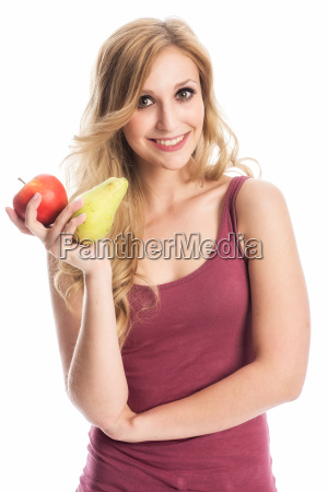 woman with apple and pear
