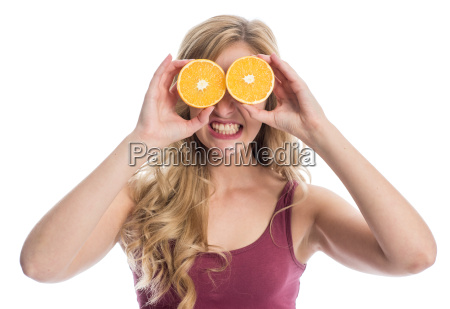 woman with orange slices on her