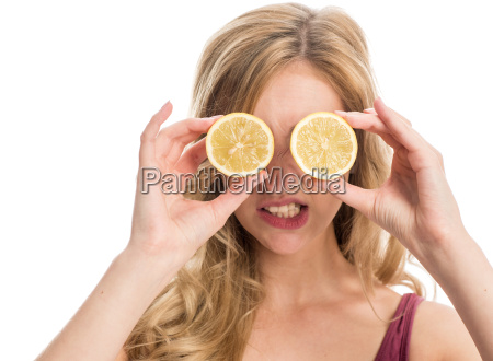 woman with lemon slices on her