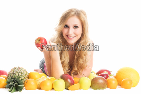 woman in the midst of fruit