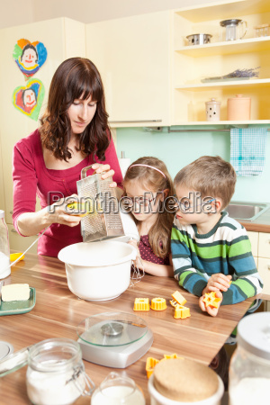 young family in the kitchen while