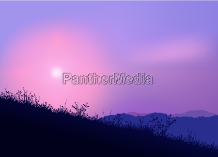 pink and purple sunset colored