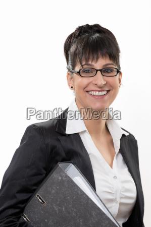 mujer de negocios de sonrisas