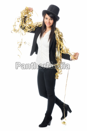 woman with cylinder celebrates