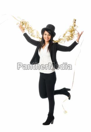 woman party celebration carnival silvester cylinder