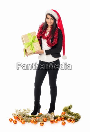 christmas girl holding a gift