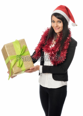 weihnachtsmädchen, hält, ein, geschenk - 12860736