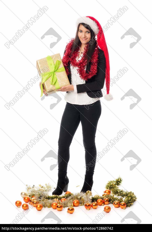 weihnachtsmädchen, hält, ein, geschenk - 12860742
