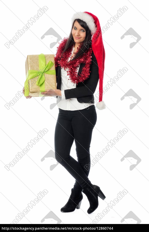 weihnachtsmädchen, hält, ein, geschenk - 12860744